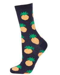 TOPSHOP Blue Navy Textured Pineapple Socks