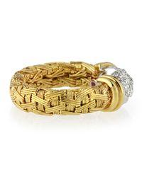 Roberto Coin - Metallic 18k Gold Woven Pavé Diamond Ring - Lyst