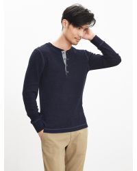 Banana Republic | Blue Waffle-knit Neps 78 Henley for Men | Lyst