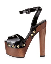 Giuseppe Zanotti - Black Patent Wooden Clog Sandal - Lyst