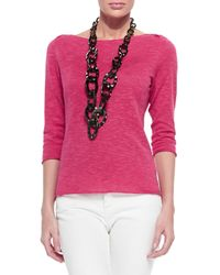 Eileen Fisher - Pink 3/4-Sleeve Organic Linen/Cotton Box Top - Lyst