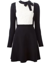 Valentino - Black Lace Panel A-line Dress - Lyst