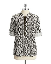 Calvin Klein - Multicolor Snakeskin-print Roll-sleeve Top - Lyst