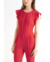 Oasis Red Crepe Frill Jumpsuit