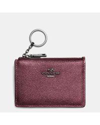 COACH | Purple Mini Skinny Id Case In Metallic Crossgrain Leather | Lyst