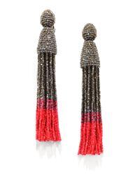 Oscar de la Renta | Red Long Beaded Tassel Clipon Earrings | Lyst