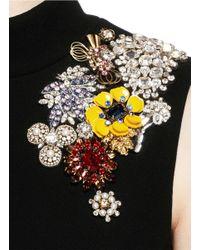 Alexander McQueen Black Jewel Embellished Open Back Top