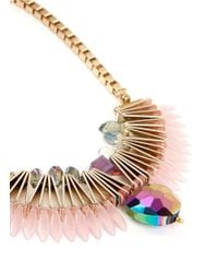 Scho - Pink Electroplate Crystal Fan Necklace - Lyst