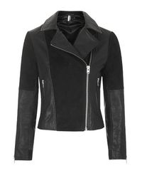 TOPSHOP | Black Leather And Suede Panel Biker Jacket | Lyst
