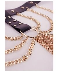 Missguided - Metallic Harness Style Chain Drop Choker Gold - Lyst