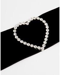 ASOS | Black Heart Velvet Choker Necklace | Lyst