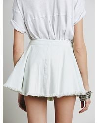 Free People | White Raw Denim Fit And Flare Mini Skirt | Lyst