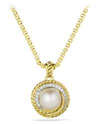 David Yurman - Metallic Pearl Crossover Pendant With Diamonds In Gold - Lyst