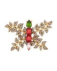Oscar de la Renta Metallic Butterfly Goldtone Crystal Brooch