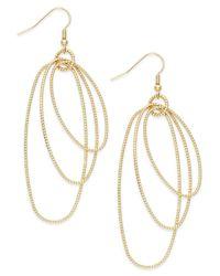 INC International Concepts | Metallic Gold-tone Triple Oval Drop Earrings | Lyst