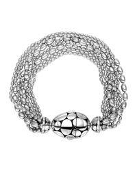 John Hardy - Metallic Kali Silver Multi-row Bead-station Bracelet - Lyst