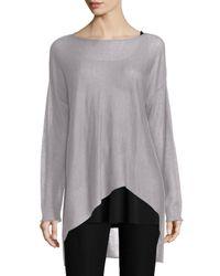 Eileen Fisher | Metallic Sleek Tencel®/merino Top | Lyst
