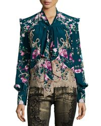 Roberto Cavalli - Blue Long-sleeve Floral-print Chiffon Blouse - Lyst