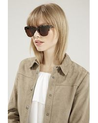 TOPSHOP - Brown Heartbeat Sunglasses By Quay - Lyst
