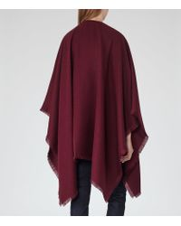 Reiss | Brown Tally Fringed Poncho | Lyst