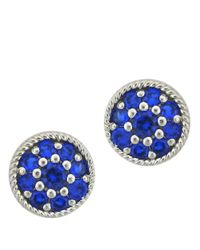 Lord & Taylor | Blue Sterling Silver And Corundum Stud Earrings | Lyst