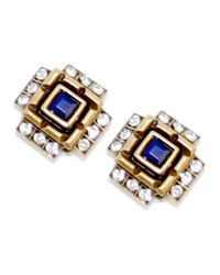 Gerard Yosca | Four Square Clip Earrings, Blue | Lyst