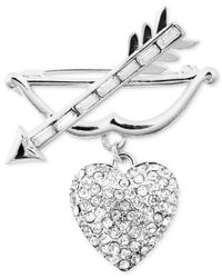 Jones New York - Metallic Arrow And Crystal Heart Pin - Lyst