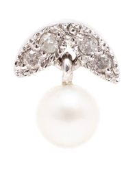 Yvonne Léon - Metallic Diamond And Pearl Stud Earring - Lyst