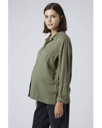 TOPSHOP - Natural Maternity Moto Khaki Tencel Shirt - Lyst