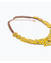 Zara | Yellow Necklace With Shiny Geometric Pieces | Lyst