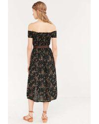 Kimchi Blue - Black Picnic Smocked Off-The-Shoulder Jersey Midi Dress - Lyst