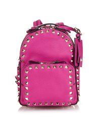 Valentino Pink Rockstud Leather Mini Backpack