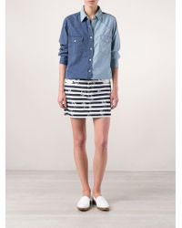 Lucien Pellat Finet - Blue Two Tone Denim Shirt - Lyst