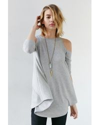 Kimchi Blue   Gray Tyra Cold Shoulder Tunic Top   Lyst