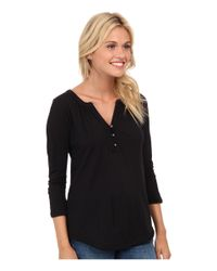 Lucky Brand | Black Mixed Trim Top | Lyst