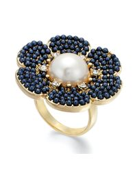 kate spade new york - Black New York Goldtone Navy Bead Imitation Pearl Floral Ring - Lyst