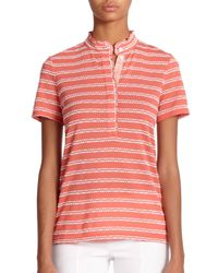 Tory Burch   White Lidia Patterned Polo Shirt   Lyst