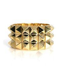 Noir Jewelry   Metallic Pyramid Stretch Three Row Bracelet   Lyst