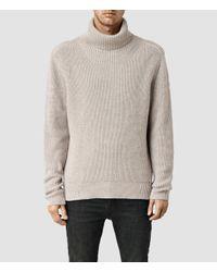 AllSaints - Gray Karser Funnel Neck Sweater for Men - Lyst