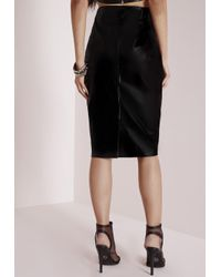 Missguided - Faux Leather Midi Skirt Black - Lyst