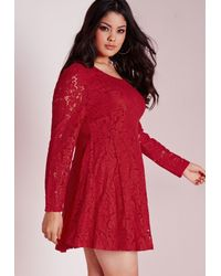 Missguided Plus Size Lace Skater Dress Red