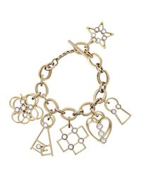 Lanvin - Metallic Gold Tone Charm Bracelet - Lyst