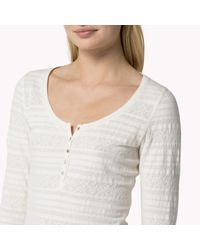 Tommy Hilfiger | Natural Cotton Patterned Henley | Lyst