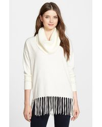 MICHAEL Michael Kors | Natural Fringe Hem Cowl Neck Sweater | Lyst