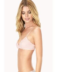 Forever 21 - Pink Floral Lace Bralette - Lyst
