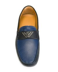 Emporio Armani   Blue Plaque Detail Loafers for Men   Lyst