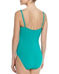 La Blanca - Blue Ruched-Center One-Piece Swimsuit - Lyst