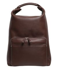 Bonastre Brown Vegetable Tanned Leather Backpack for men