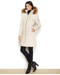 Calvin Klein | Natural Faux-fur-trimmed Hooded Down Coat | Lyst
