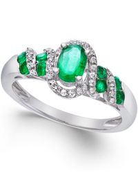 Macy's | Metallic Emerald (5/8 Ct. T.w.) And Diamond (1/6 Ct. T.w.) Twist Ring In Sterling Silver | Lyst